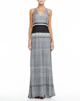Missoni Racerback Knit Maxi Dress, Black/White