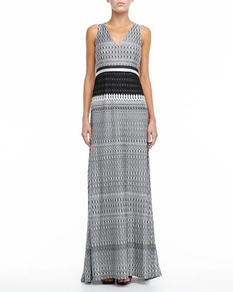 Racerback Knit Maxi Dress, Black/White