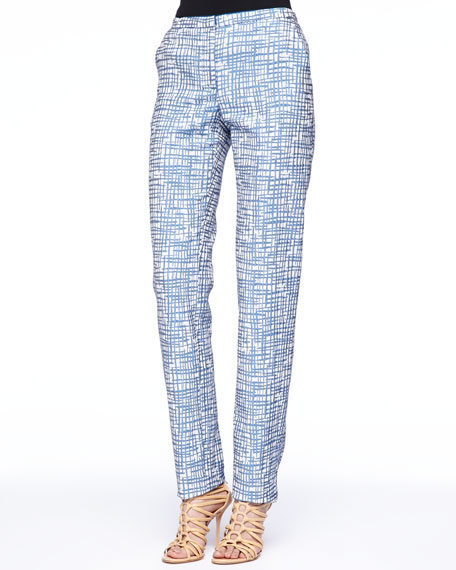 Zigzag Jacquard Pants, Blue