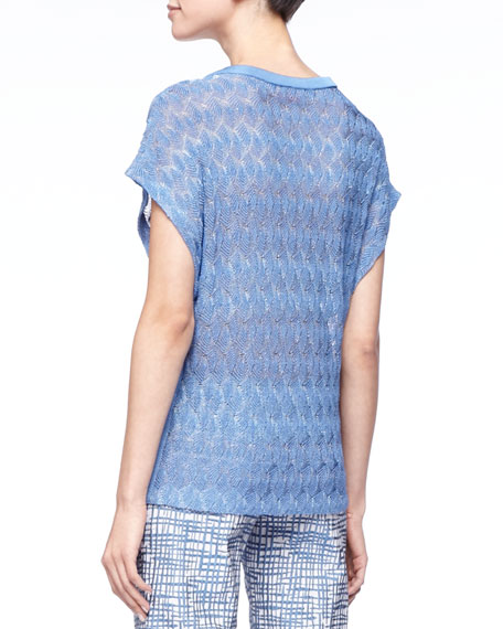 Leaf-Knit Short-Sleeve Sweater, Blue