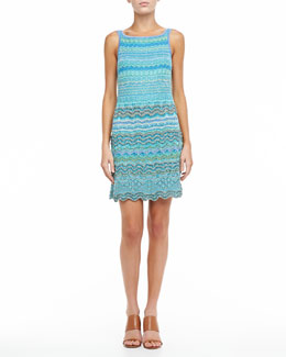 Missoni Scalloped Sleeveless Dress, Aquamarine
