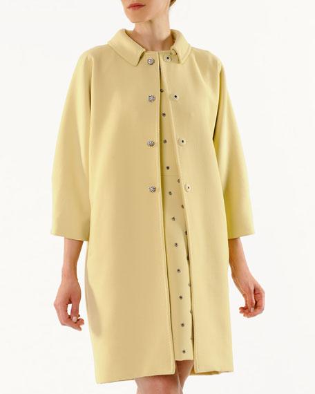 Crystal-Button Kimono Coat