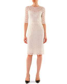 Dolce & Gabbana Half-Sleeve Macrame Sheath Dress