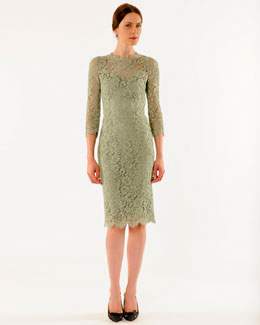 Dolce & Gabbana 3/4-Sleeve Lace Sheath Dress