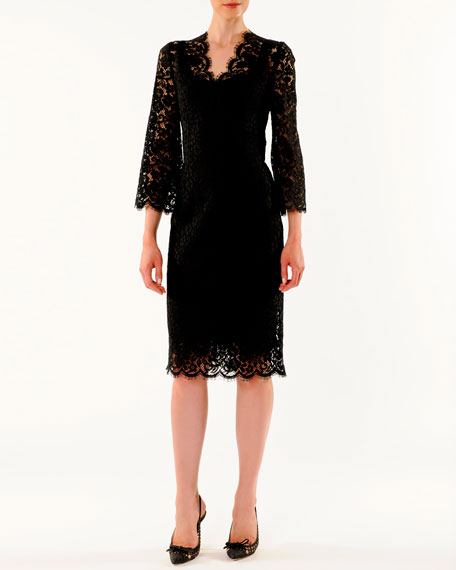 V-Neck Cordonetto Lace Dress
