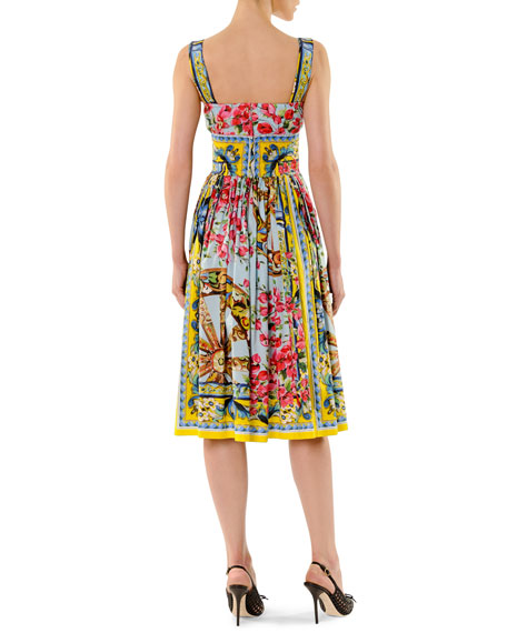 Printed Full-Skirt Tank Dress