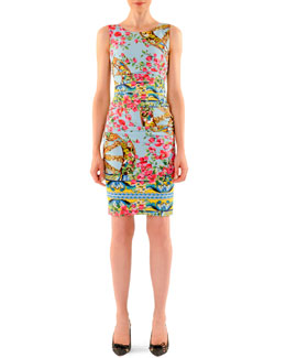 Dolce & Gabbana Bougainvillea Ruched Sheath Dress