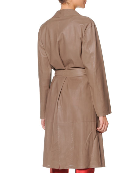 Micro-Perforated-Leather Trench Coat