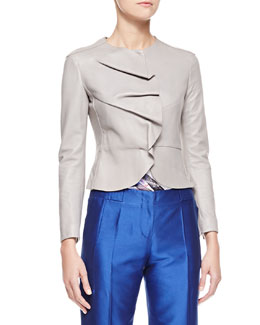 Giorgio Armani Ruffled Snap-Front Leather Jacket, Gray