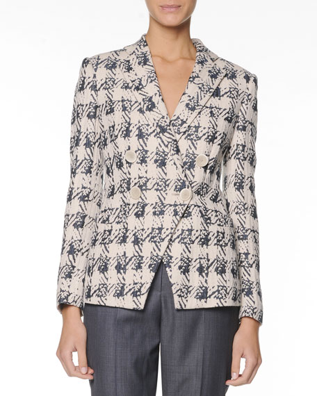 Double-Breasted Jacquard Blazer