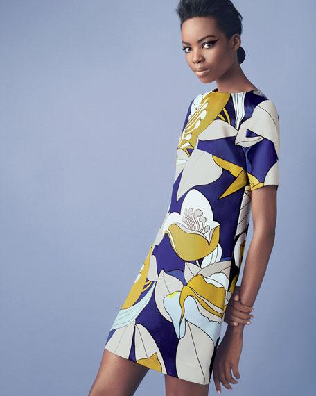 Floral-Print Satin Dress