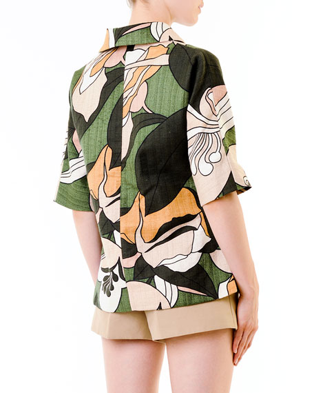 Floral-Print Collared Tunic