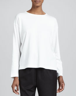 eskandar Long-Sleeve Round-Neck Top, Ivory
