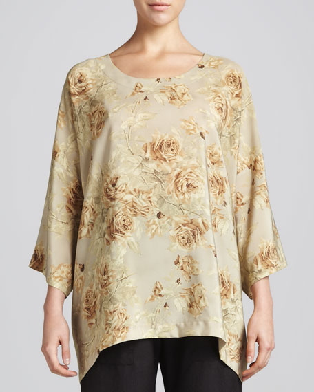 Long Floral Silk T-Shirt Tunic, Camel