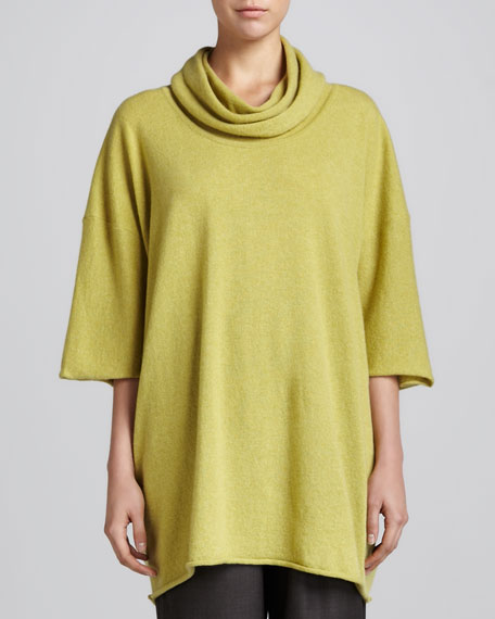 Angel-Sleeve Cowl-Neck Sweater, Olive Oil