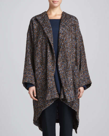 Hi-Low Jacket Coat, Blue/Multi