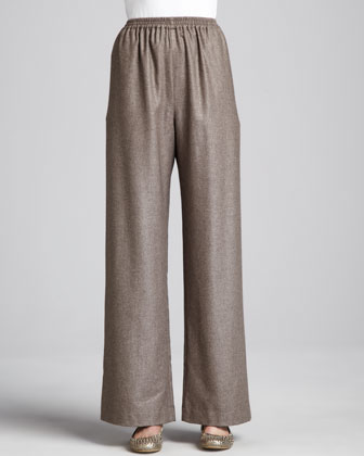 Wide-Leg Cashmere-Silk Trousers, Bison