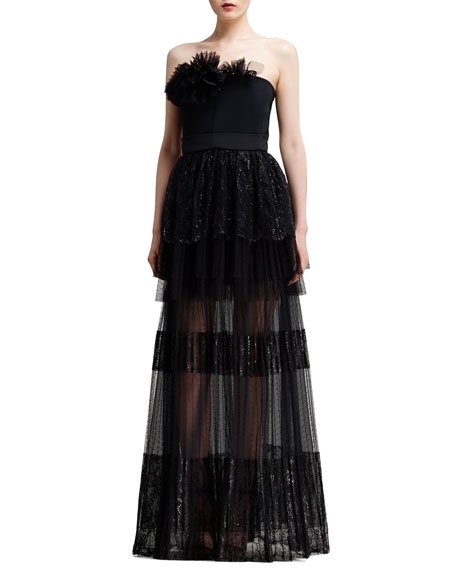 Strapless Tiered Lace Gown, Black