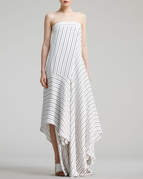Sailor-Striped Long Dress, White/Black
