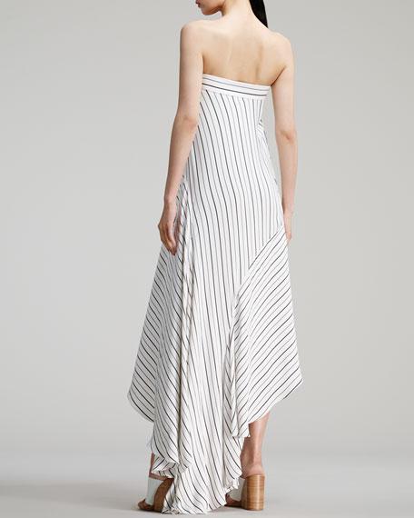 Sailor-Striped Long Dress, White/Black