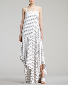 Chloe Sailor-Striped Long Dress, White/Black