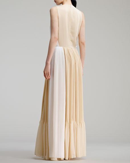 Two-Tone Pleated Organza Dress, White/Beige