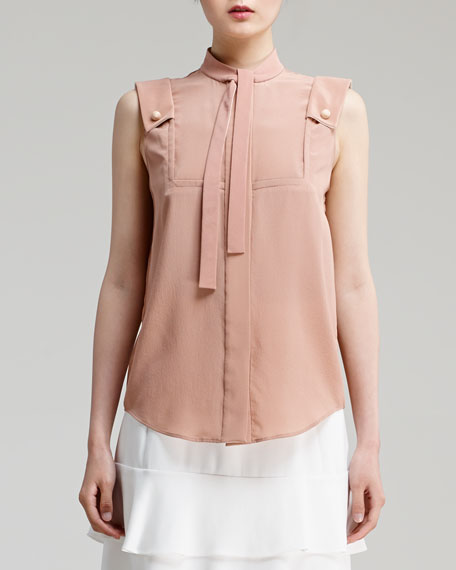 Sleeveless Silk Crepe de Chine Blouse, Pink Sand