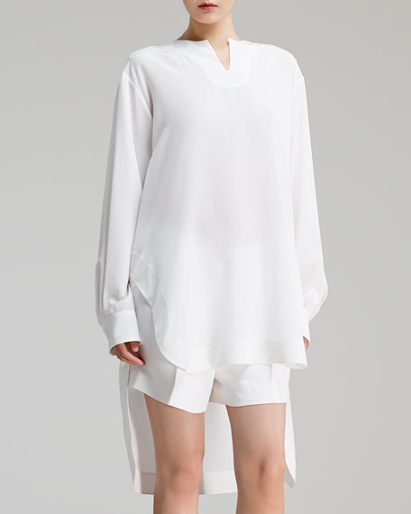 Long-Sleeve Silk Crepe de Chine Blouse, Milk