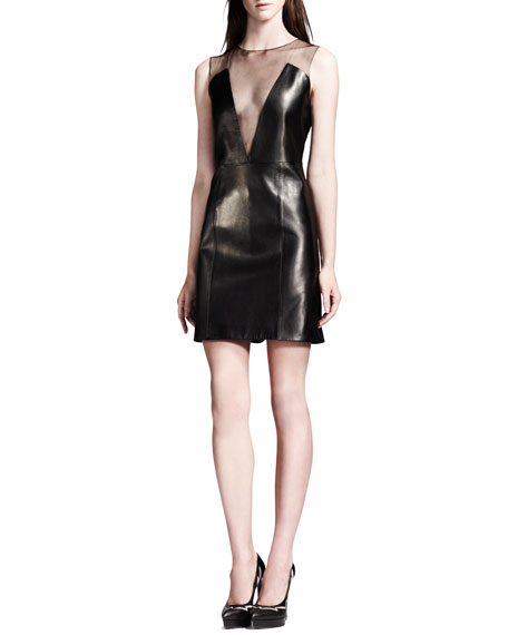 Sheer-Inset Lambskin Leather Dress, Black