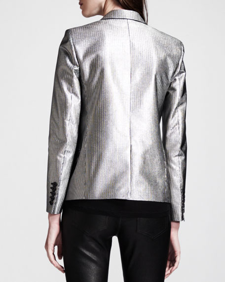 Silver Single-Button Blazer