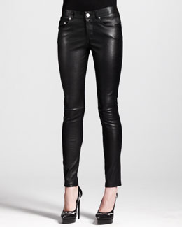 Saint Laurent Skinny Leather Ankle Pants