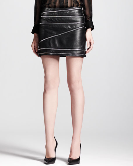 Leather Zip-Trim Miniskirt