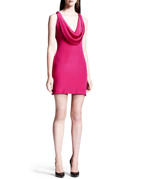 Silk Cowl-Neck Mini Dress