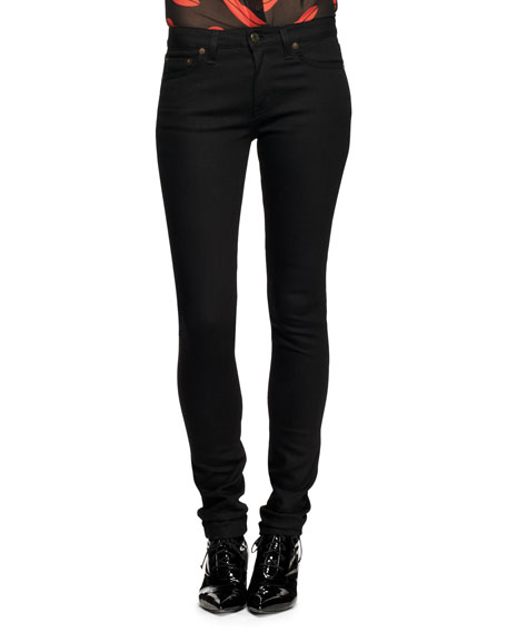 Five-Pocket Raw Denim Skinny Jeans