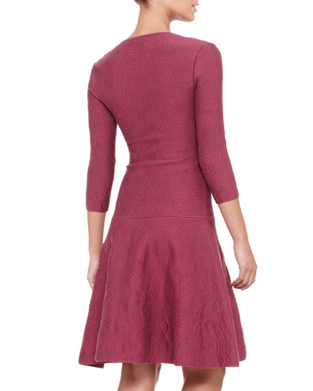 3/4-Sleeve Bubble-Knit Dress, Cherry