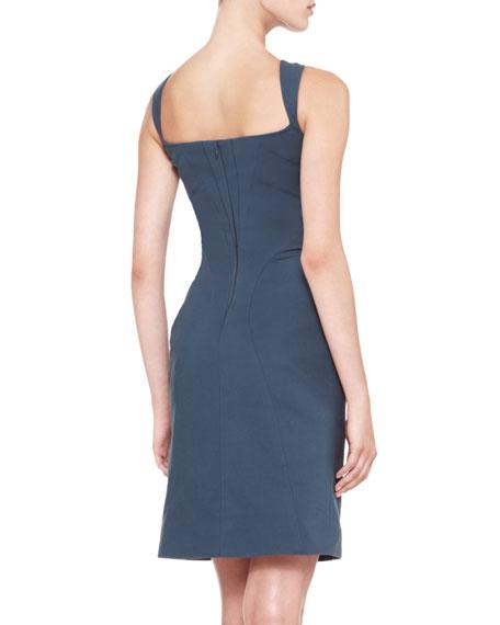 Sleeveless Vertical Piped Sheath Dress, Teal