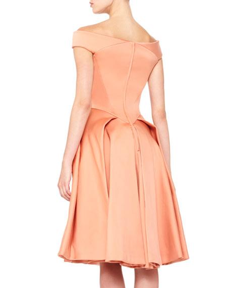 Off-Shoulder Full-Skirt Dress, Light Coral