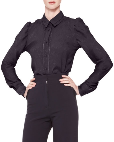 Long-Sleeve Collared Button-Up Blouse