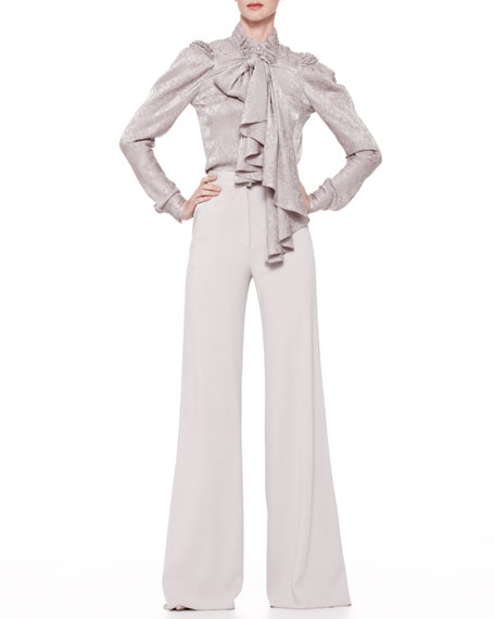 High-Waist Wide-Leg Trousers, Gray