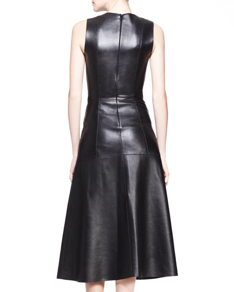 Leather A-Line Midi Dress