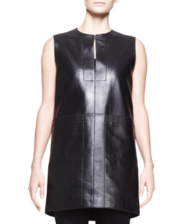 THE ROW Sleeveless Leather Pocket Tunic