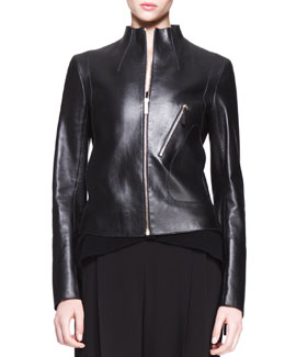 THE ROW High-Neck Leather Jacket