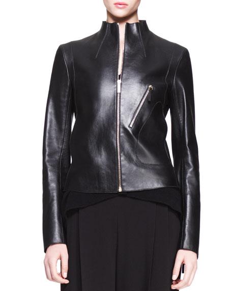 High-Neck Leather Jacket