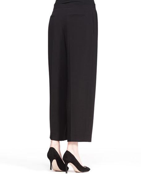 Cropped Wide-Leg Pleat Pants