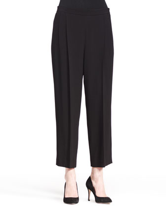 Cropped Wide-Leg Pleat Pants