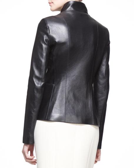 Golden-Trim Leather Jacket