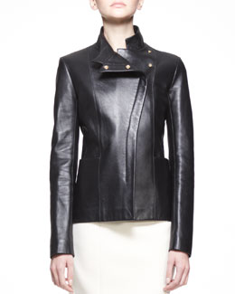 THE ROW Golden-Trim Leather Jacket