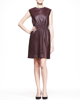 THE ROW Cap-Sleeve Leather Dress