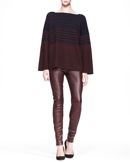 Stretch Leather Skinny Pants, Mahogany