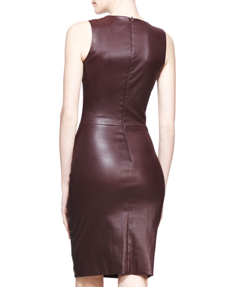 Stretch Leather Sheath Dress, Mahogany